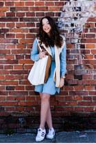 white asos bag - sky blue Medicine dress - camel VJ Style vest