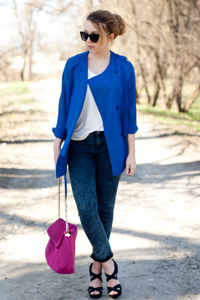 blue romwe coat - black Pimkie shoes - hot pink Choies bag