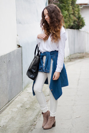 blue NastyDress shirt - white Sheinside shirt - tan Bershka boots