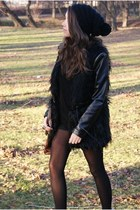black romwe coat - brown Papilion boots - black reserved hat - black H&M shorts