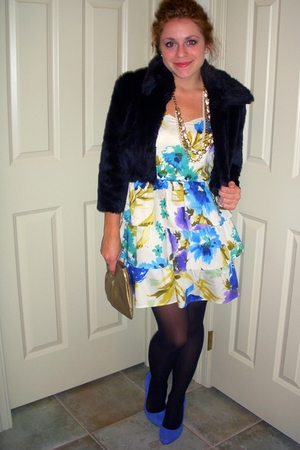 vintage jacket - Urban Outfitters dress - Jessica Simpson shoes - Forever 21 nec