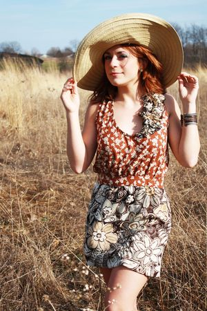 brown Kelly Marie Chaffin dress - beige thrifted hat