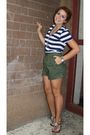 Green-urban-outfitters-shorts-blue-shirt-brown-shoes
