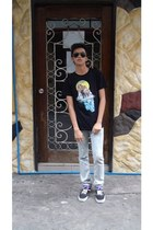mint jeans - Ray Ban sunglasses - Greater Good t-shirt - Vans sneakers