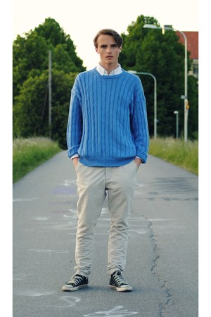 turquoise blue second hand sweater - Reunion pants