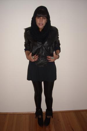 Valleygirl accessories - top - Ebay leggings - vintage jacket - rubi boots