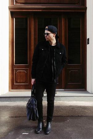 black H&M boots - black Bershka jeans - black Zara jacket