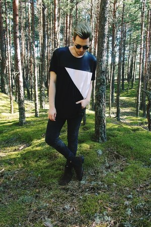 black Tally Weijl jeans - dark brown H&M boots - black New Yorker t-shirt