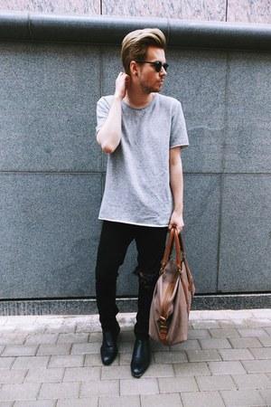 black H&M boots - black H&M jeans - dark brown H&M bag