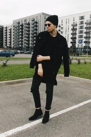black H&M boots - black Tally Weijl jeans - black Sinsay hat - black Zara jacket