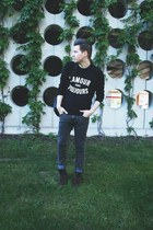 black New Yorker sweater - dark brown H&M boots - dark gray Cheap Monday jeans