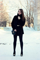 black spiked Bershka boots - black peplum Zara dress - black fur unknown coat