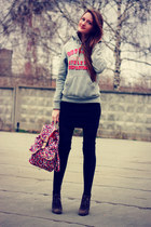 black Zara dress - hot pink Accessorize bag - heather gray Superdry hoodie