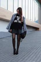 heather gray Sheinside coat - black backpack Chicwish bag