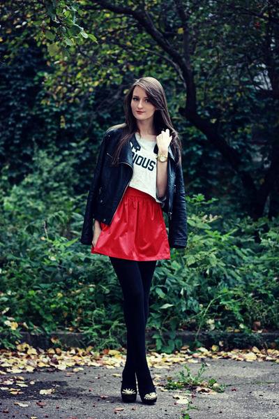 red full VANCL skirt - black leather noname jacket - silver crop VANCL top