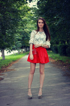 ruby red VANCL skirt - off white Zara bag - off white Zara top