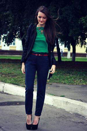 dark green chiffon new look blouse - black beaded miss-millie blazer