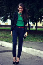 dark green chiffon new look blouse - black beaded miss-millie blazer