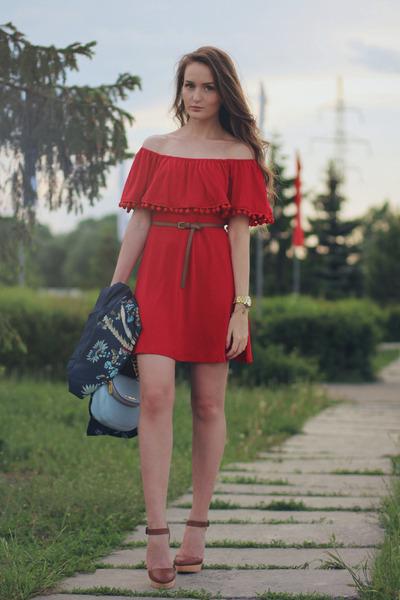 red walktrendy dress - sky blue Michael Kors bag - navy Sheinside cardigan