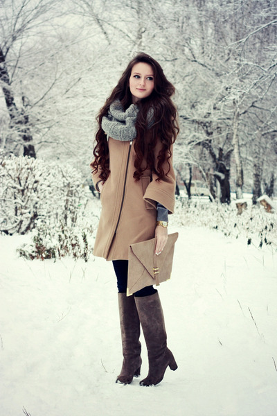 tan wool Zara coat - gray suede Yoox boots - navy skinny asos jeans