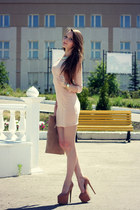 nude Bershka dress - tan asos bag - tan SheLikes heels