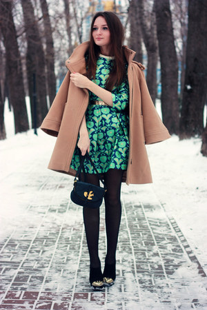 turquoise blue skater Chicwish dress - black suede Bershka boots