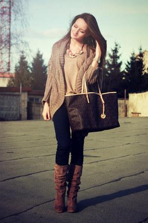 navy Zara jeans - light brown Yoox boots - dark brown Michael Kors bag