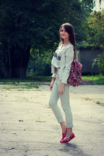 off white striped VANCL blazer - hot pink floral Accessorize bag