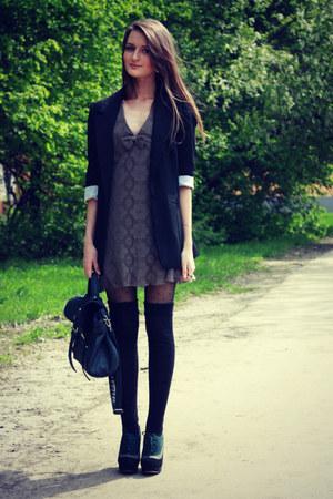 black asos blazer - gray Sultana Frantsuzova dress - navy reserved bag