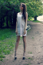 off white Zara bag - ivory brandy melville dress - heather gray Zara heels