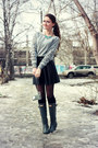 Dark-gray-rain-hunter-boots-black-wool-zara-coat