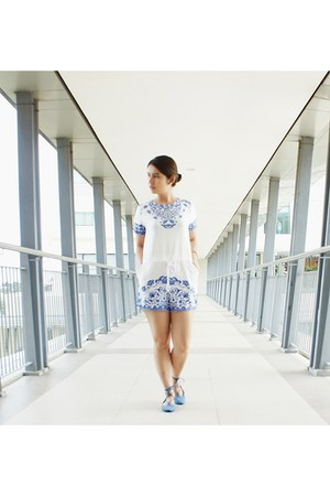 white and blue romper - strappy divisoria shoes
