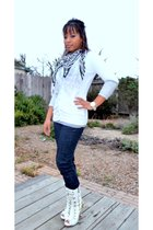 black Wetseal scarf - white Old Navy cardigan - gray  top - blue Phils jeans - w