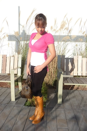 pink Old Navy cardigan - white BP Nordstrom - black  pants - brown Cutesy boots