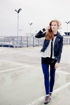 navy H&M pants - black Topshop jacket - gray Zara flats