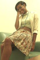 blazer - necklace - brown belt - skirt - Forever 21 shirt - shoes