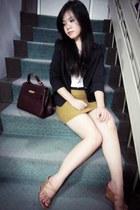 black black next blazer - ivory crop top Zara shirt - brick red Hermes bag - dar