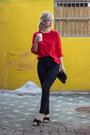 Red-jcrew-sweater-black-sephora-bag-navy-h-m-pants-black-flats