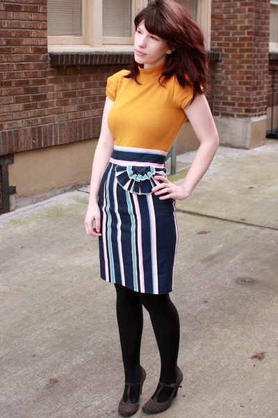 yellow H&M top - blue handmade skirt - black tights - gray Nordstrom shoes
