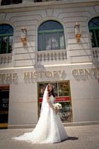 wedding gown Maggie Sottero dress - veil Shoedazzle accessories