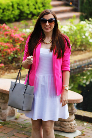 New York and Company blazer - Victorias Secret dress - Michael Kors bag