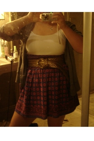 Urban Outfitters skirt - t-shirt - belt - sweater
