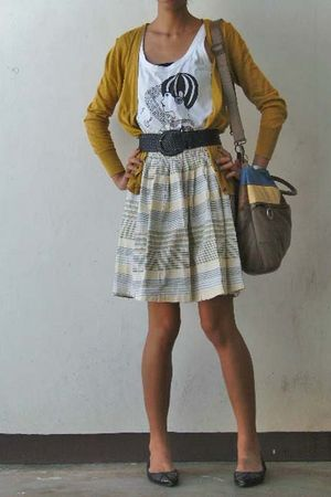 gold cardigan - black shoes - white top - yellow skirt