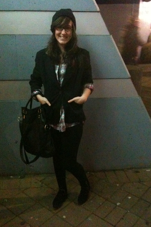 black Suzy Sheir blazer - red shirt - black Aldo tights - black shoes - black Ol