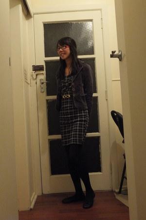 purple Valleygirl blazer - black pagani dress - flats with bow garage flats