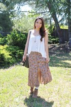 vintage skirt - Lucky Brand boots - vintage blouse