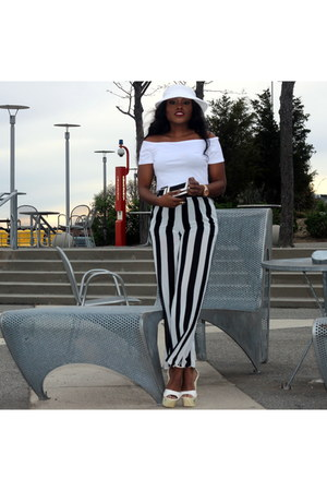 Bebe shoes - chiffon Forever 21 pants - eggshell cropped H&M top - mac wallet