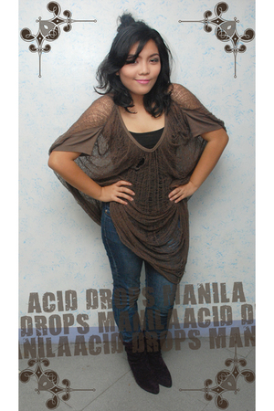 brown Acid Drops Manila top - black Bazaar top - blue Herbench jeans - purple Ce