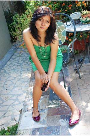 green department store dress - pink payless shoes - silver Forever21 necklace -