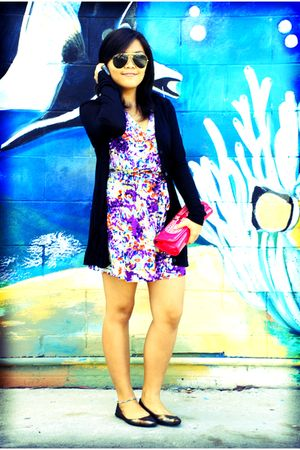 purple Forever 21 dress - black cotton on cardigan - black rubi shoes - pink baz